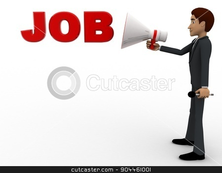 3d man advertise job using speaker concept stock photo, 3d man advertise job using speaker concept on white background, side angle view by 3dlabs