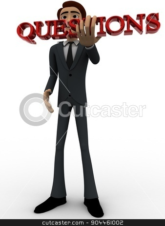 3d man holding questions text in hand concept stock photo, 3d man holding questions text in hand concept on white background, low angle view by 3dlabs