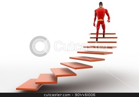 3d superhero  going down from stairs concept stock photo, 3d superhero  going down from stairs concept on white background, front angle view by 3dlabs