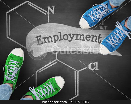 Employment against black background stock photo, The word employment and casual shoes against black background by Wavebreak Media