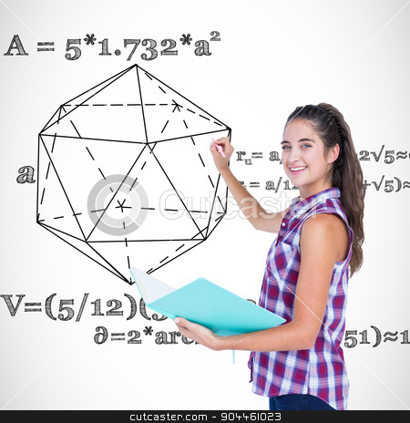 Composite image of pretty brunette writing and holding notebook  stock photo, Pretty brunette writing and holding notebook  against geometry problem by Wavebreak Media