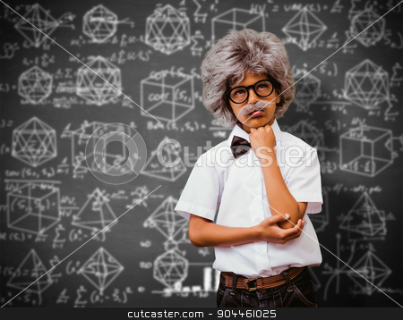 Composite image of pupil dressed up in wig stock photo, Pupil dressed up in wig against black background by Wavebreak Media