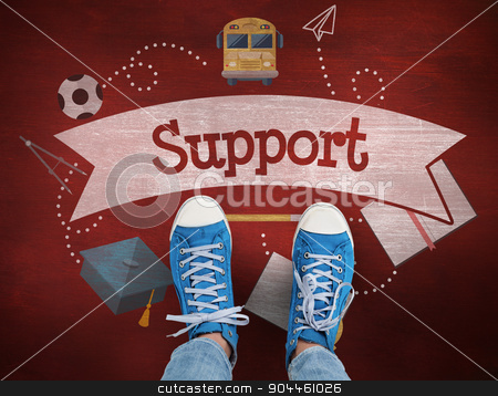 Support against desk stock photo, The word support and casual shoes against desk by Wavebreak Media