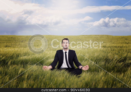 Composite image of peaceful businessman sitting in lotus pose re stock photo, Peaceful businessman sitting in lotus pose relaxing against nature scene by Wavebreak Media