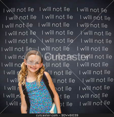 Composite image of cute little girl holding book in library stock photo, Cute little girl holding book in library against black background by Wavebreak Media