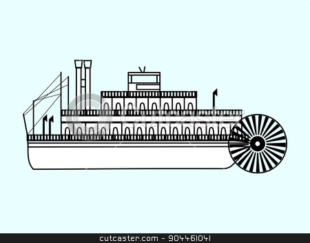White ship with a water wheel stock vector clipart, White ship with a water wheel water retro transport by kozyrevaelena