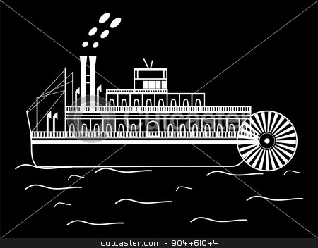silhouette boat with a water wheel stock vector clipart, The silhouette of the boat with a water wheel water retro transport by kozyrevaelena