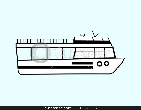 Tourist boat stock vector clipart, Tourist ship boat water retro cruise travel transport by kozyrevaelena