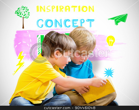 Composite image of pupils reading book stock photo, Pupils reading book against white background with vignette by Wavebreak Media