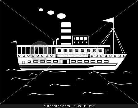 Silhouette little retro ship  stock vector clipart, Silhouette of a little retro of the ship and the smoke from the chimney water retro transport by kozyrevaelena