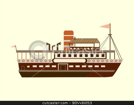 Color little retro steamer stock vector clipart, Color little retro steamer water retro transport by kozyrevaelena