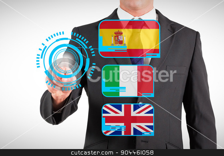 Composite image of businessman standing and pointing stock photo, Businessman standing and pointing against interface by Wavebreak Media