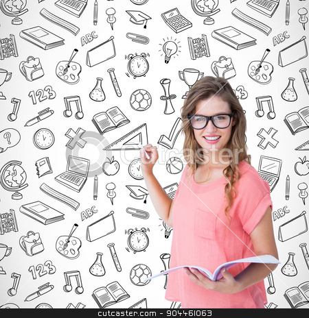 Composite image of hipster woman holding notebook  stock photo, Hipster woman holding notebook  against school wallpaper by Wavebreak Media