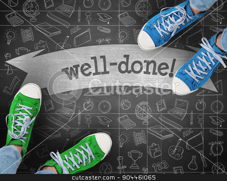 Well-done! against black background stock photo, The word well-done! and casual shoes against black background by Wavebreak Media