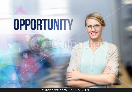 Opportunity against confident female teacher in computer class stock photo, The word opportunity against confident female teacher in computer class by Wavebreak Media