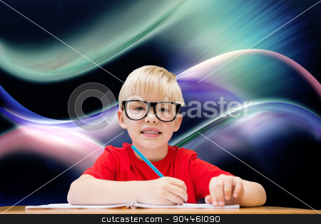 Composite image of cute pupil at desk stock photo, Cute pupil at desk against glowing abstract design by Wavebreak Media