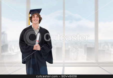 Composite image of smiling student in graduate robe stock photo, Smiling student in graduate robe against bright white room with windows by Wavebreak Media