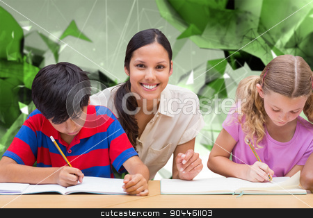 Composite image of pretty teacher helping pupils in library stock photo, Pretty teacher helping pupils in library against angular design by Wavebreak Media