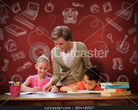 Composite image of teacher helping pupils in library stock photo, Teacher helping pupils in library against desk by Wavebreak Media