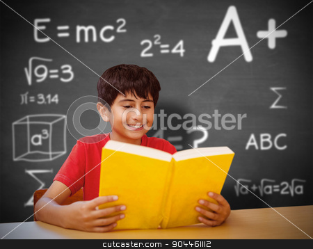 Composite image of cute boy reading book in library stock photo, Cute boy reading book in library against black background by Wavebreak Media