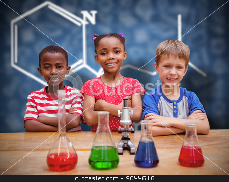 Composite image of cute pupils standing with arms crossed behind stock photo, Cute pupils standing with arms crossed behind beaker against blue chalkboard by Wavebreak Media