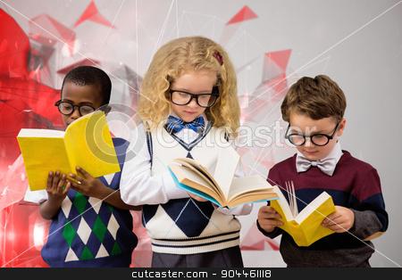 Composite image of school kids stock photo, School kids against angular design by Wavebreak Media