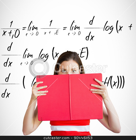 Composite image of student holding book over face stock photo, Student holding book over face against maths equation by Wavebreak Media