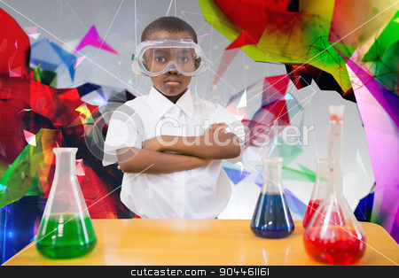 Composite image of pupil conducting science experiment stock photo, Pupil conducting science experiment against angular design by Wavebreak Media