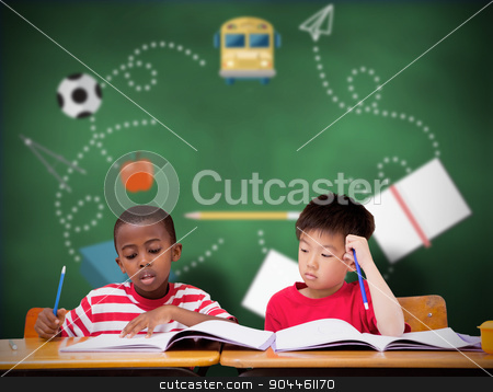Composite image of cute pupils writing at desk in classroom stock photo, Cute pupils writing at desk in classroom against green chalkboard by Wavebreak Media