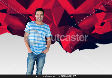 Composite image of full length portrait of handsome man standing stock photo, Full length portrait of handsome man standing hands in pockets against red abstract design by Wavebreak Media