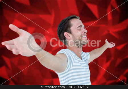 Composite image of smiling man standing arms outstretched stock photo, Smiling man standing arms outstretched against red abstract design by Wavebreak Media