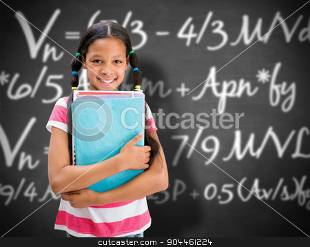 Composite image of cute pupil smiling at camera in library  stock photo, Cute pupil smiling at camera in library  against black background by Wavebreak Media