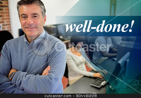 Well-done! against teacher smiling at top of computer class stock photo, The word well-done! against teacher smiling at top of computer class by Wavebreak Media