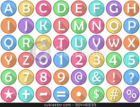 Alphabet Numbers Symbols Flat Round Icons stock vector clipart, Vector illustration set of alphabet numbers symbols round flat icons. by Liron Peer