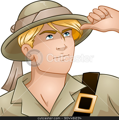 Blond Nature Explorer stock vector clipart, Vector illustration of a blond nature explorer looking up. by Liron Peer