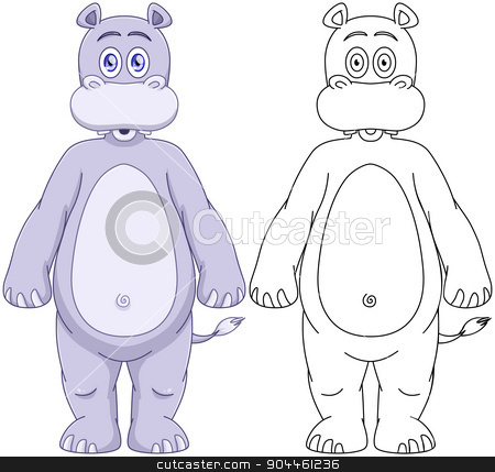 Cute Humanoid Hippo With Lineart stock vector clipart, Vector illustration set of a cute purple hippo with lineart. by Liron Peer