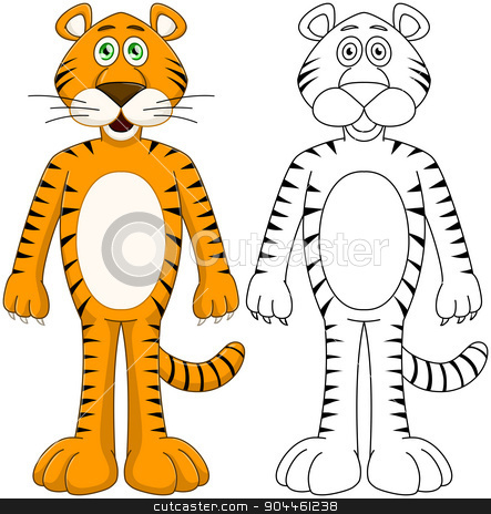 Cute Humanoid Tiger With Lineart stock vector clipart, Vector illustration set of a cute humanoid orange tiger with lineart. by Liron Peer