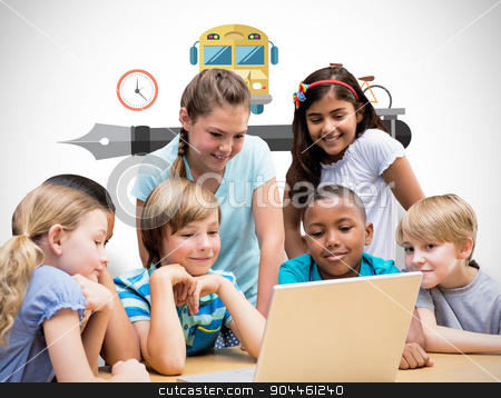 Composite image of cute pupils using tablet computer in library stock photo, Cute pupils using tablet computer in library against white background with vignette by Wavebreak Media