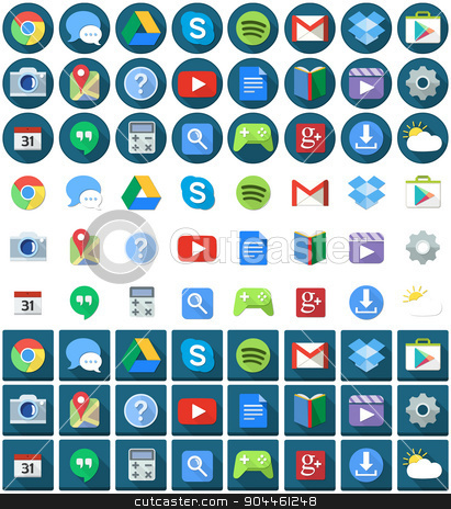 Flat Circle Square Android Icons stock vector clipart, Vector illustration set of android applications flat icons round and square. by Liron Peer