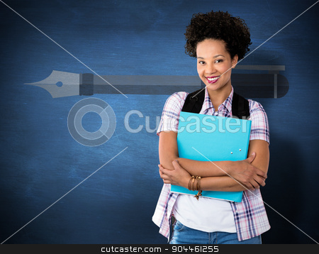 Composite image of casual young woman with folder in office stock photo, Casual young woman with folder in office against blue chalkboard by Wavebreak Media
