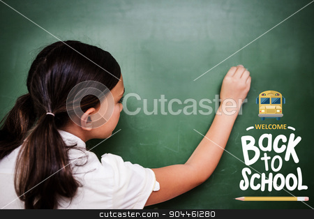 Composite image of back to school stock photo, back to school against cute pupil writing on chalkboard by Wavebreak Media