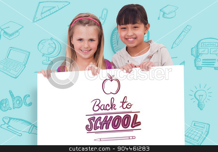 Composite image of girls behind a blank panel stock photo, Girls behind a blank panel against back to school by Wavebreak Media
