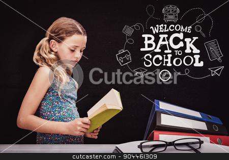 Composite image of girl reading book in library stock photo, Girl reading book in library against black by Wavebreak Media