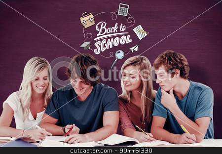 Composite image of four students sitting together and trying to  stock photo, Four students sitting together and trying to get the answer against green chalkboard by Wavebreak Media