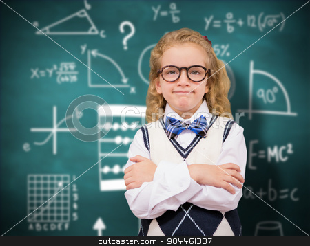 Composite image of cute pupil with arms crossed stock photo, Cute pupil with arms crossed against green chalkboard by Wavebreak Media