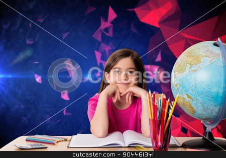 Composite image of cute pupil working at her desk stock photo, Cute pupil working at her desk against dark abstract design by Wavebreak Media