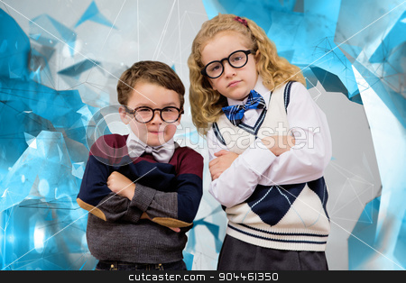 Composite image of cute pupils looking at camera stock photo, Cute pupils looking at camera against angular design by Wavebreak Media