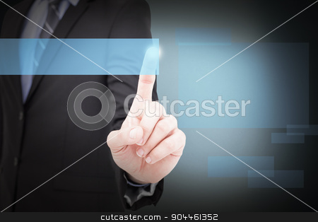 Composite image of mid section of businessman pointing something stock photo, Mid section of businessman pointing something up against blue background by Wavebreak Media