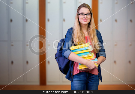 Composite image of pretty student in the library stock photo, Pretty student in the library against closed lockers in a row at the college by Wavebreak Media