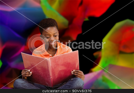 Composite image of cute boy reading book in library stock photo, Cute boy reading book in library against colourful abstract design by Wavebreak Media